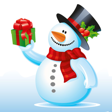 Happy snowman with a gift in hand, Cartoon on a white background, vector Ilustração