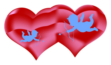 Two hearts and angels with an arrow, decorations for Valentines Day, on a white background, vector