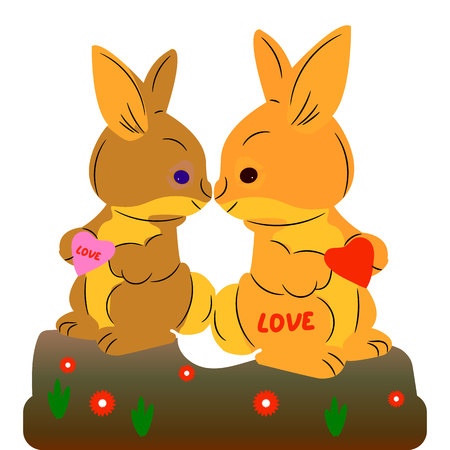 A pair of cute hares kiss. Decoration for the holiday Valentine, on a white background, vector. Ilustração