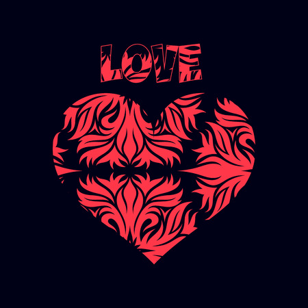 Abstract red heart, decoration for Valentines Day, on a black background, vector