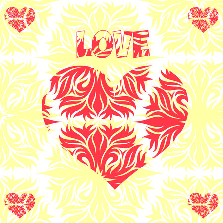 Abstract heart, decoration for Valentines Day, on a light background, vector Ilustração