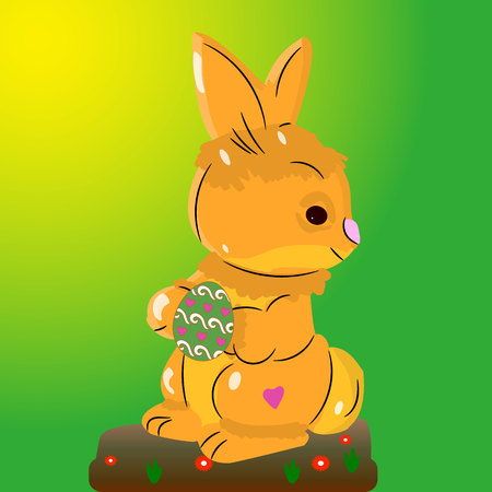 Light brown hare, holding an Easter egg in its paws, on a light green background, vector