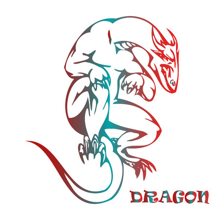 Big dragon in flight, symbol on white background, vector