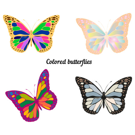 A collection of colored butterflies, for decoration, on a white background vector Ilustração