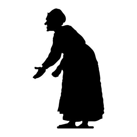 Old woman, hunched, silhouette on white background, vector