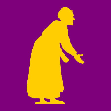Old woman, hunched, yellow silhouette on purple background, vector