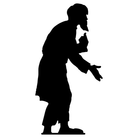 Beggar old man with a beard (grandfather), hunched, black silhouette on white background, vector