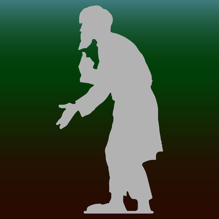 Beggar old man with a beard (grandfather), hunched, gray silhouette on a dark green background, vector