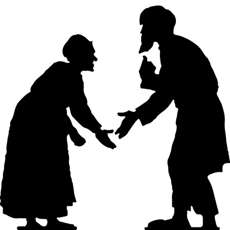 Alter Mann mit Bart und alte Frau streiten, gebeugt, schwarze Silhouette auf weißem Hintergrund, Vektor