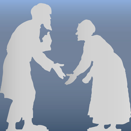 Old man with a beard and an old woman arguing, hunched, gray silhouette on a light blue background, vector
