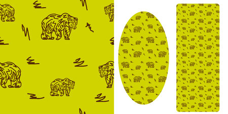 Seamless pattern, walking bear, against the background of a khaki color, vector