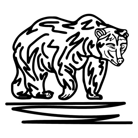 Figure walking bear, on a white background, vector Ilustração