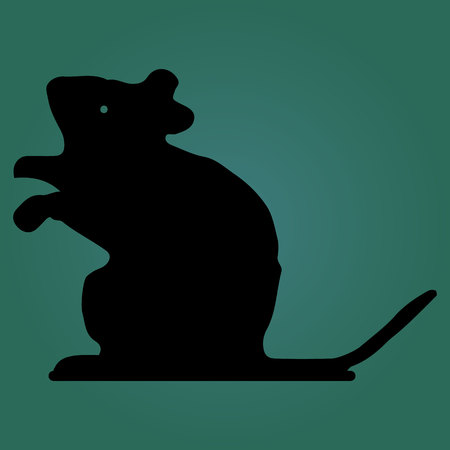 Mouse looks head up, silhouette on a dark green background, vector