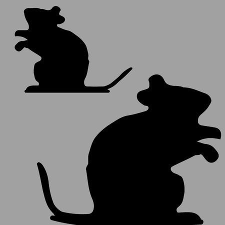 Mouse looks head up, silhouette on gray background, vector Ilustração