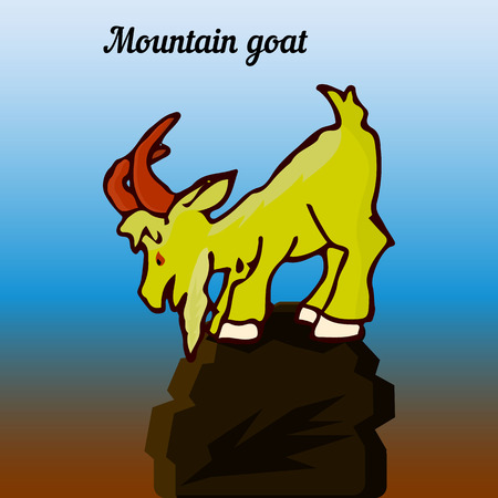 Mountain goat on top, looking down, cartoon character, nature background, vector Ilustrace