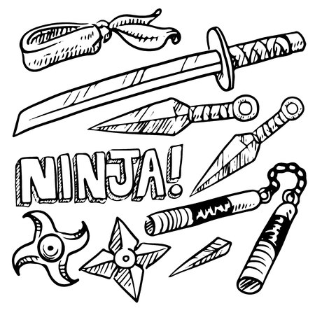 Collection set of ninja weapons, drawing on white background, vector