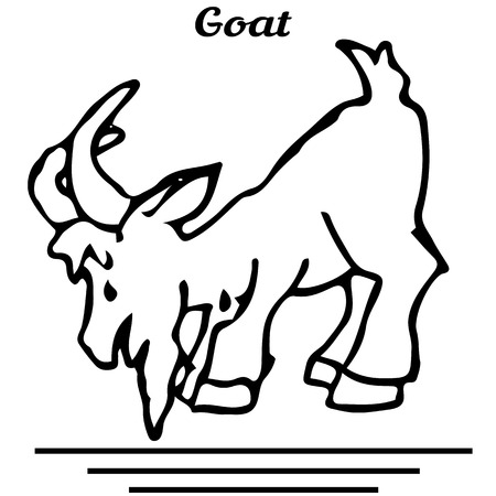 Figure goat, looking down, cartoon character, on a white background, vector