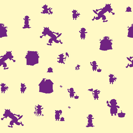 Seamless pattern, three pigs and a wolf, purple character on a beige background, vector