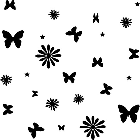 Seamless pattern, butterflies and flowers, silhouette on white background, vector
