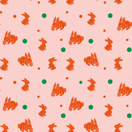 Seamless pattern, light brown hare silhouette on pink background, vector