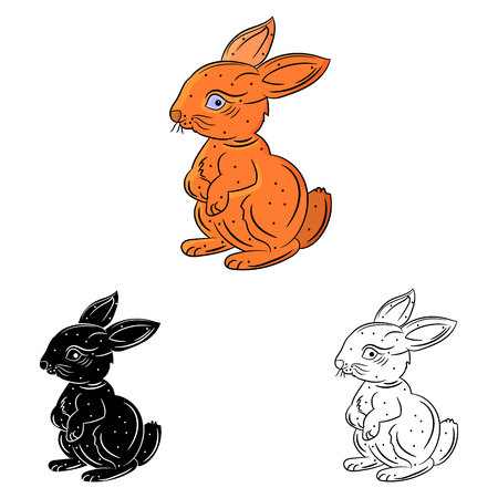 Coloring, happy hare stands on two legs, on a white background, vector