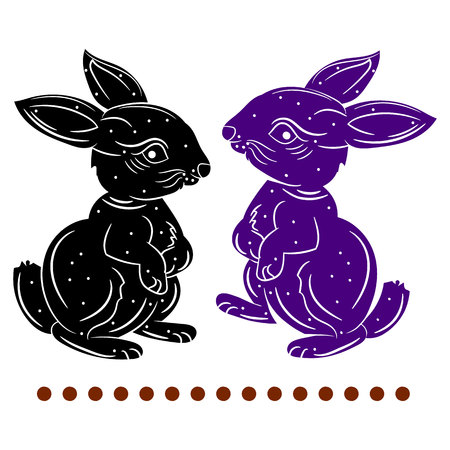 Silhouette (black and blue), two hares stand on two paws, on a white background, vector Ilustração
