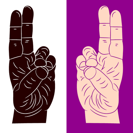 Hand gesture, two fingers together, yoga mudra on white and on a purple background, vector