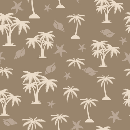 Palm tree seamless pattern on light brown background, vector Ilustração