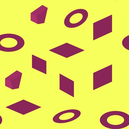 Seamless purple isometric figures, on yellow background, vector
