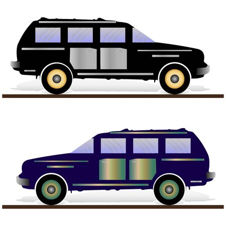 Two cars are black and dark blue. Cars on a white background, vector Ilustração