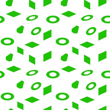 Seamless green isometric figures, on a white background, vector