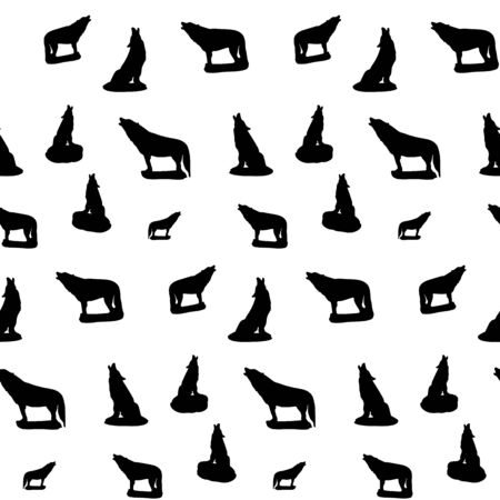 Seamless pattern, silhouette of a black wolf howling, on a white background, vector
