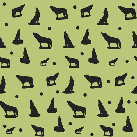Seamless pattern, silhouette of a black wolf howling, on a green background, vector Ilustração