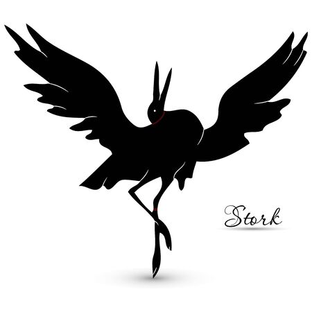 Dancing black stork,silhouette on white background, vector