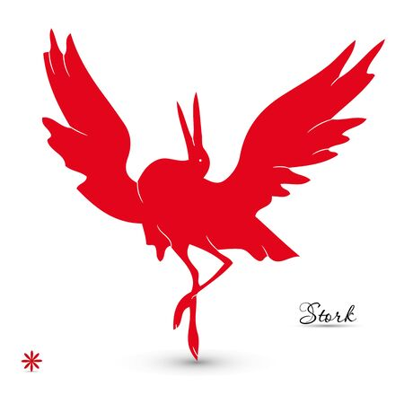 Red silhouette of a dancing stork, on a white background, vector