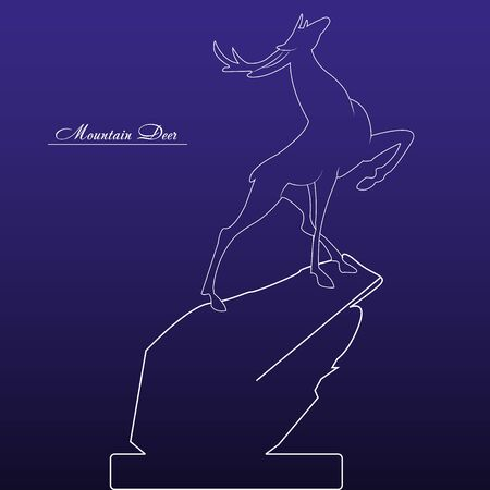 Designer white drawing of a young deer on a high hill, on a dark blue background, vector Ilustrace