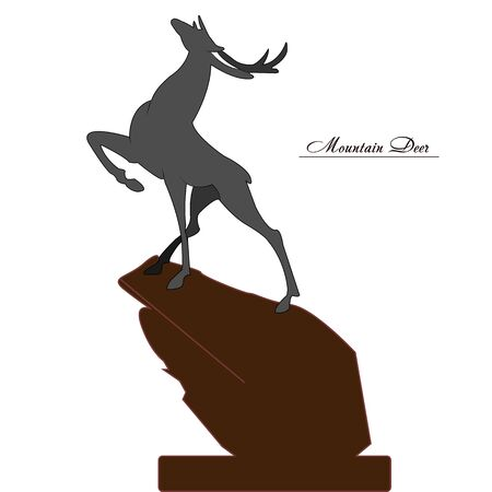 Young gray mountain deer on a high hill, on a white background, vector Ilustração