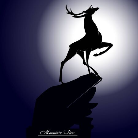 Silhouette of a young deer on a high hill, at night with the moon, vector Ilustração