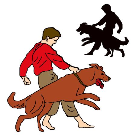 Boy in red shirt, trains a dog, character on a white background, vector