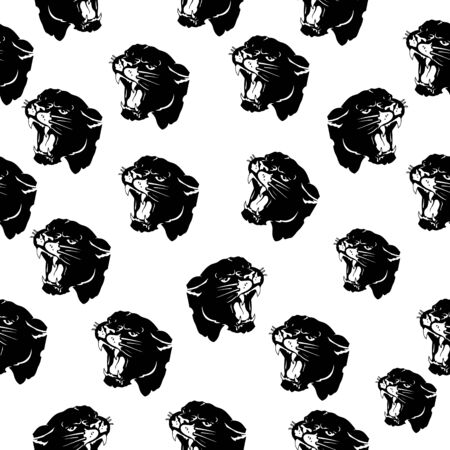 Seamless pattern, head of aggressive angry panther, black silhouette on white background, vector Ilustração