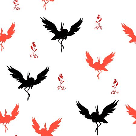 Stork seamless pattern dancing, silhouette on white background, vector Ilustração