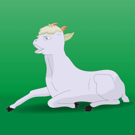 Cartoon gray lamb resting on a green background, vector