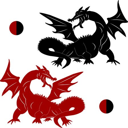 Ancient animal dragon, black and red, style, silhouette on a white background, vector