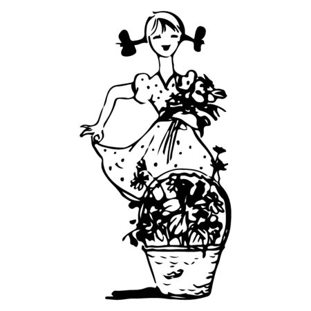 A sketch of a girl with pigtails in a dress is holding flowers in her hands, and next is a basket of flowers, on a white background, vector