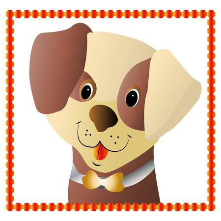 Brown puppys head, in orange frame, cartoon design on white background, vector