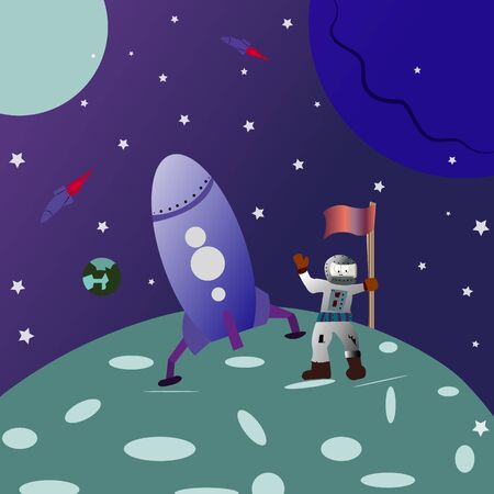 Space background. landing on the moon. cartoon astronaut with a flag in his hand. vector 일러스트