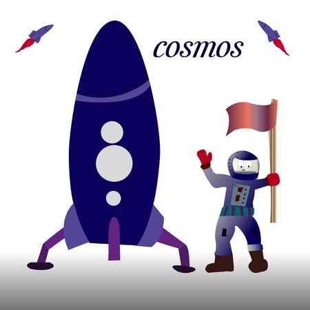 The rocket is dark blue in color. and cartoon astronaut with a flag in his hand, on a white background, vector