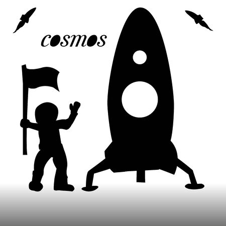 Silhouette of a rocket and an astronaut with a flag in his hand, on a white background, vector Ilustração