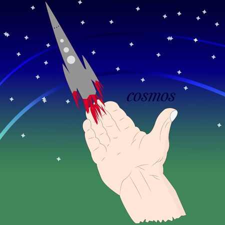 Abstract space illustration, rocket launch. Hand and rocket symbol. Vector 일러스트