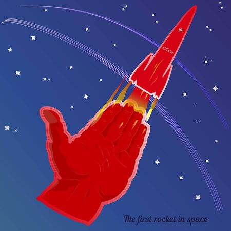 Abstract illustration, the first launch of the USSR rocket. A retro red rocket takes off, on a blue background, vector